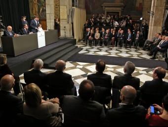Acte de presa de possessió del president Carles Puigdemont, abans d'ahir, al Palau de la Generalitat. JUANMA RAMOS