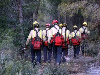 Efectius dels Bombers durant les tasques d'extinció de l'incendi, aquest dijous a Mont-roig del Camp ACN