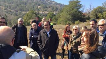 El conseller Josep Rull, ahir, durant la seva visita al Parc Natural del Montsant TES
