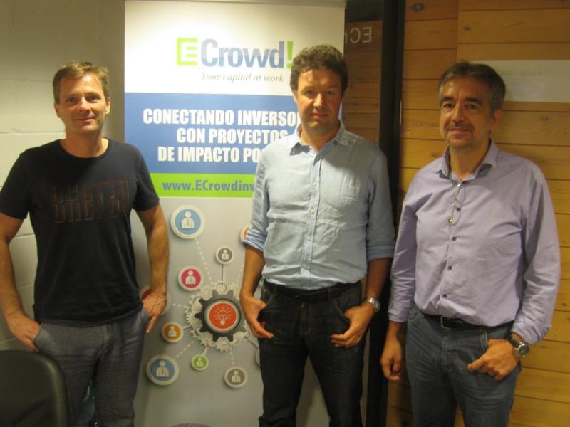 Els fundadors d'eCrowd!: Matthieu van Haperen, Stephan Samson i Jordi Solé Muntada Arxiu