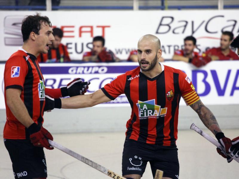 Celebració de Salvat, Marín i Platero en un partit d'aquesta temporada ELISABETH MAGRE