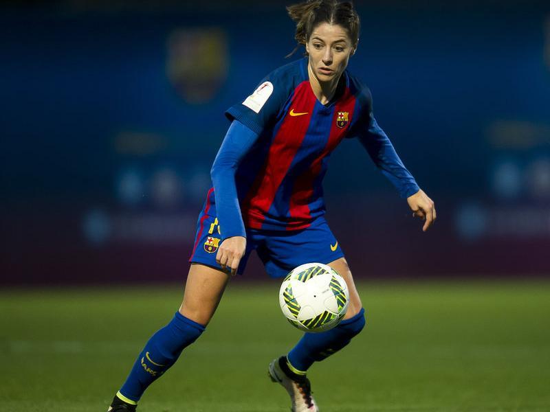 Vicky Losada , en una acció del partit contra l'Athletic FC BARCELONA