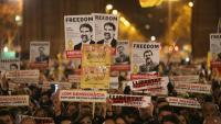 Una de les manifestacions que s'han fet reclamant la llibertat de Jordi Cuixart i Jordi Sànchez
