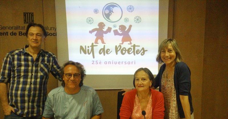 Martí Peraferrer, Lluís Lucero, Roser Balló (coordinadora de Nit de Poetes) i Dolors Reig, ahir en la presentació J.C.L.