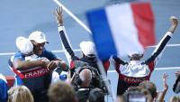 Celebració francesa contra Espanya quan es va consumar el 3-0 dissabte