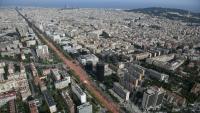 Una imatge aèria de la manifestació que va omplir la Diagonal de Barcelona