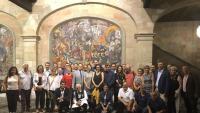 Els alcaldes desplaçats a Suïssa per intervenir a l'ONU amb Marta Rovira i Anna Gabriel, exiliades en aquell país