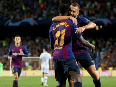 Dembélé i Alba en la celebració del 2-0