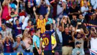 Messi, celebrant el gran gol de falta que va marcar dimarts contra el PSV