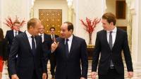 Abdel Fattah al-Sisi, president egipci, parla a Tusk en presència del canceller austríac, Sebastian Kurz, diumenge al Caire