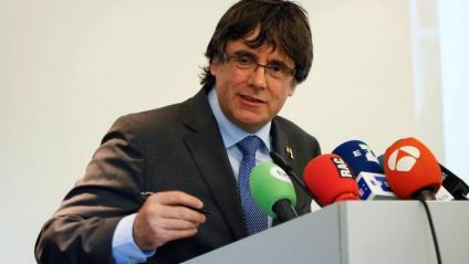 Puigdemont, pronunciant ahir una conferència a la Universitat de Hasselt, a Flandes
