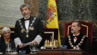 El rei espanyol, amb la fiscal general de l'Estat, María José Segarra, durant el discurs del president del CGPJ, Carlos Lesmes, en l'obertura de l'any judicial, el dia 10
