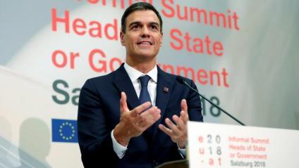 El president espanyol, Pedro Sánchez, ahir, durant la cimera europea informal celebrada a Salzburg