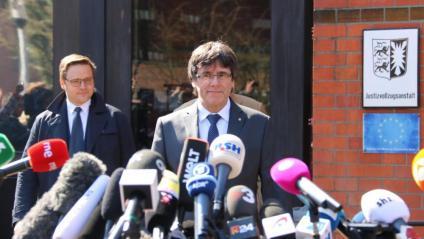 El president Carles Puigdemont el dia que va sortir de la presó alemanya de Neumünster