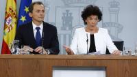 Els ministres Pedro Duque i Isabel Celaá, ahir en roda de premsa