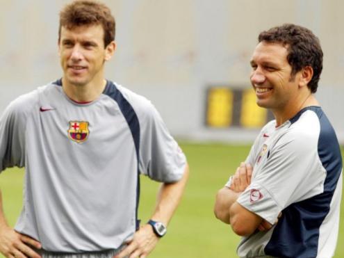 Unzué i Eusebio, durant l'etapa com a ajudants de Rijkaard al Barça