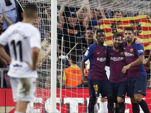 Dembélé, Messi i Luis Suárez ja sumen 15 gols aquesta temporada. Tots tres han estat titulars en tots els partits