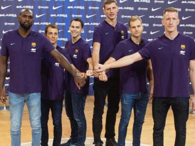 Els sis nous fitxatges del Barça Lassa, ahir, en la seva presentació oficial al mig del Palau Blaugrana: Singleton, Pangos, Kuric, Pustovyi, Blazic i Smits