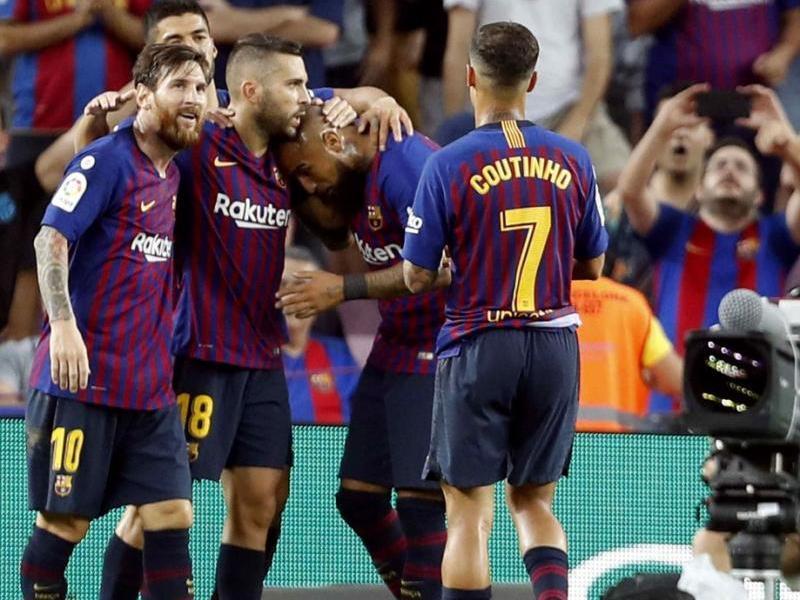 Els jugadors del Barça, celebrant el gol de Jordi Alba contra l'Osca
