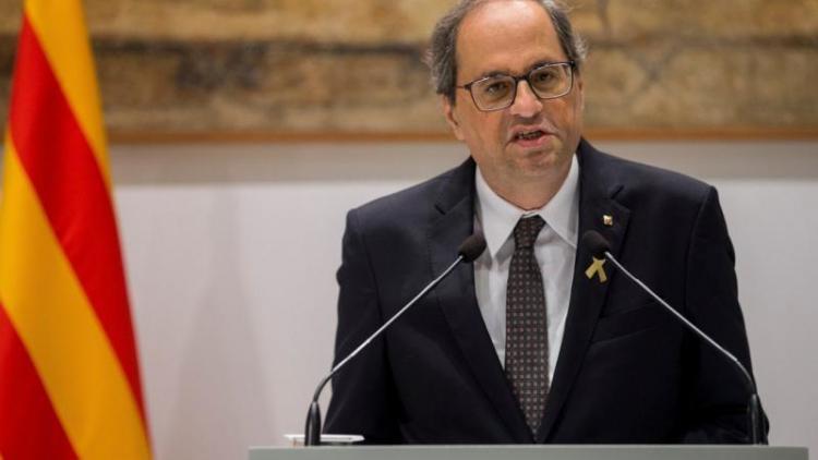 El president de la Generalitat, Quim Torra, al Palau de la Generalitat
