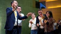 Els participants en el consell nacional d'ERC, que aquest cop es va fer a l'auditori Axa de Barcelona, van ovacionar Marta Rovira i Alfred Bosch
