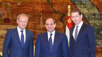 Al-Sisi, president egipci, entre Tusk, cap del Consell Europeu, i el canceller austríac Kurz