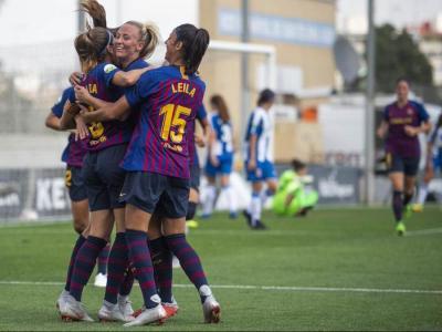 Les jugadores del Barça celebren un dels gols