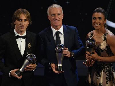 Modric, Deschamps i Marta a la gala d'ahir a Londres