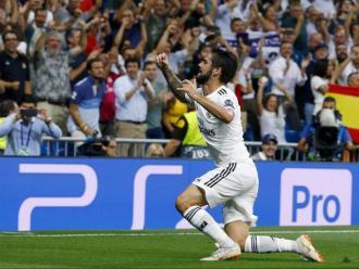 Isco celebrant el gol contra el Roma a la Champions