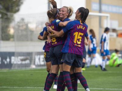 Les blaugrana celebren un dels gols anotats en el darrer partit contra l'Espanyol