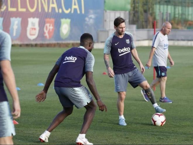Messi, Umtiti, Sergi Roberto i Vidal, en l'entrenament d'ahir a la tarda