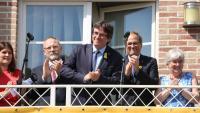 Carles Puigdemont i Quim Torra, al balcó de la casad e Waterloo al juliol