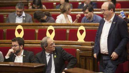 Torra i Iceta a la cambra catalana en un dels debats plenaris de l'octubre.
