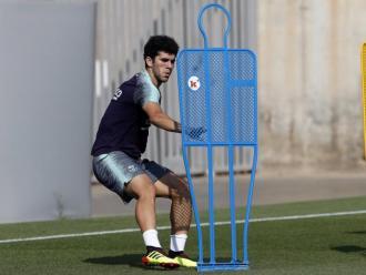 Carles Aleñá, en un entrenament del primer equip del Barça de la setmana passada