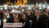 Els consellers Maragall i Artadi , el vicepresident Aragonès i el president Torra, durant l'acte de solidaritat amb Jordi Cuixart i Jordi Sànchez