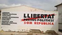 Una paret amb el missatge de Llibertat Presos Polítics, a Cadaqués