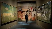 A l'entrada de l'exposició, la paròdia del gran quadre de Puvis de Chavannes.