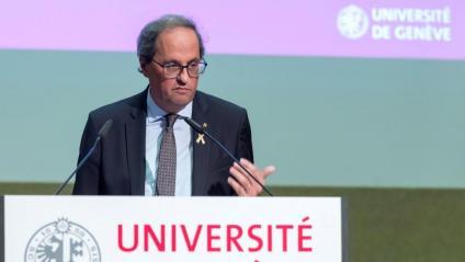 El president, ahir, durant la conferència a Suïssa