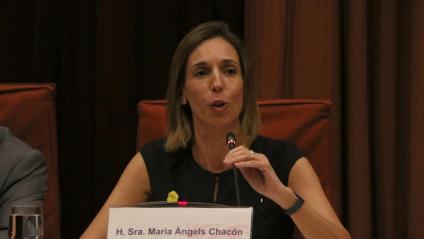 Àngels Chacón, consellera d'Economia i Empresa, durant la seva compareixença d'ahir a la comissió del Parlament