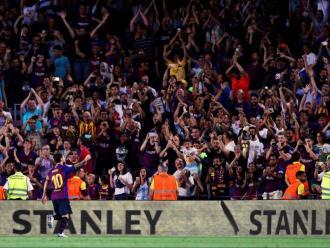 Messi celebrant un gol aquesta temporada amb l'afició del Camp Nou