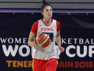 Bea Sánchez, en un entrenament amb la selecció espanyola.