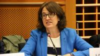 La presidenta de l'ANC, Elisenda Paluzie, durant una intervenció al Parlament Europeu