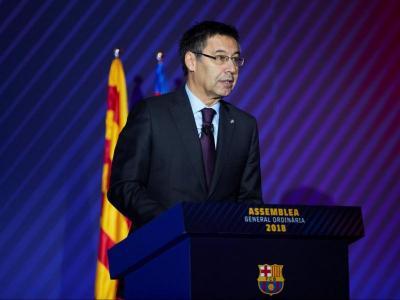 Josep Maria Bartomeu, durant l'assemblea
