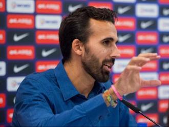 Victor Sada, durant la roda de premsa de comiat al Palau Blagrana