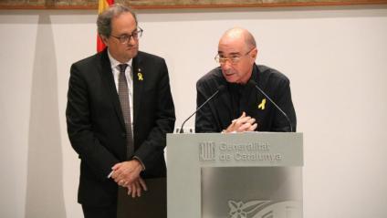 El president Torra i LLuís Llach a la presentació
