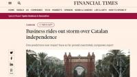 """El Financial Times destaca que les """"pitjors pors"""" econòmiques pel procés independentista """"no s'han materialitzat"""""""