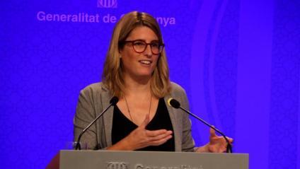 Elsa Artadi, consellera de la Presidència i portaveu del govern, ahir a la sala de premsa després del Consell Executiu