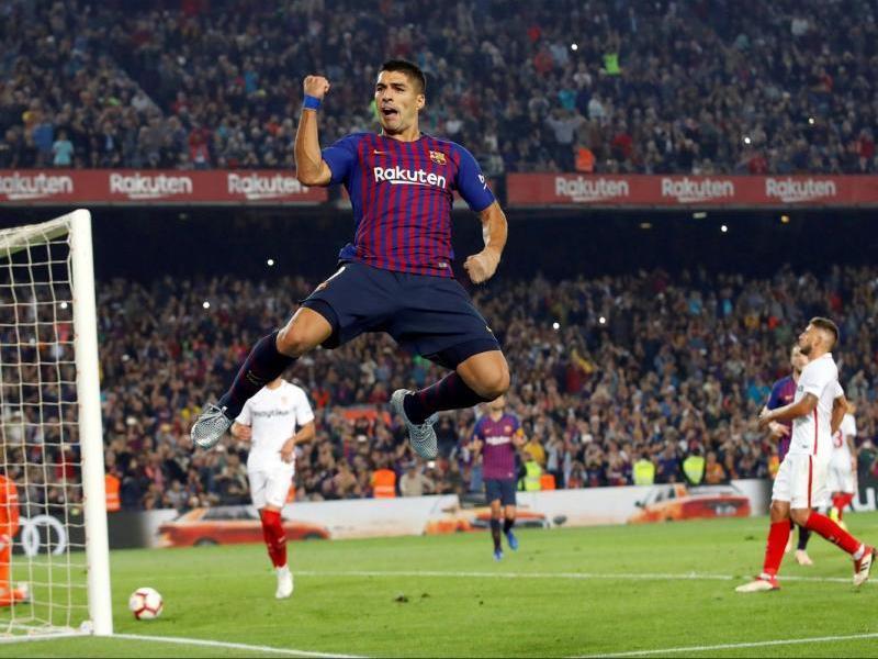 Luis Suárez, després de marcar un gol contra el Sevilla en el darrer precedent entre tots dos equips