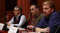 D'esquerra a dreta, el doctor en Geologia Josep Giner; el periodista i autor de 'Castor: la bombolla sísmica', Jordi Marsal, i el cofundador del grup Cas Castor, Alfons Pérez