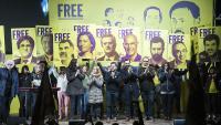 Un acte de suport als presos a l'exterior de la presó de Lledoners